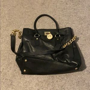 Black Michael Kors Leather Top Handle Bag